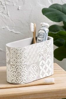 Tile Print Toothbrush Holder