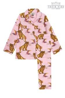 Their Nibs Girls Traditional Pyjama Set In Lion Moon