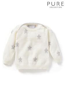 סוודר קשמיר לבן לתינוק של Pure Collection