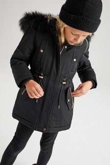 Shower Resistant Faux Fur Trimmed Parka (3-16yrs)
