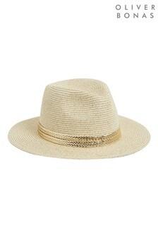 Oliver Bonas Brown Gold Sparkle Fedora Hat