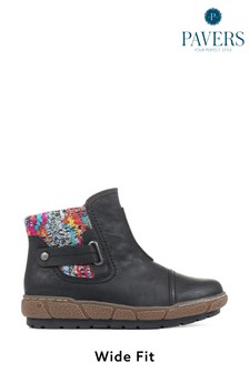 Pavers Black Ladies Ankle Boots