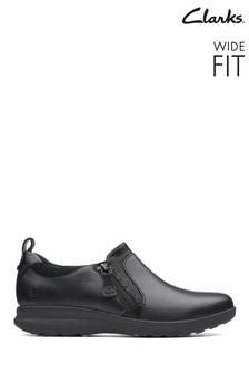 Clarks Black Un Adorn Zip Shoe