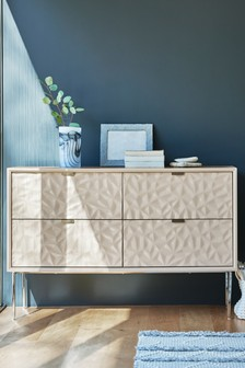 Mode Textured 4 Drawer Wide Chest