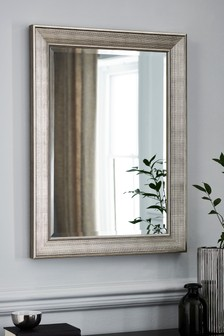 Silver Textured Over Mantle Mirror
