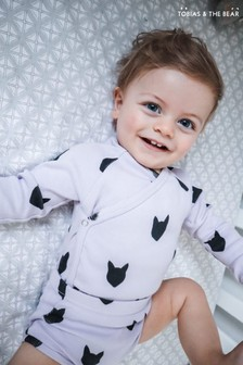 Tobias & The Bear Fox Kimono-Body aus Bio-Baumwolle, Violett/Flieder