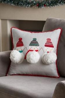 Подушка со снеговиком и помпонами