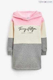 Tommy HilfigerHoodie-Kleid mit Blockfarben und Logo, Pink