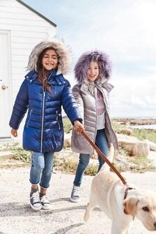 Удлиненная дутая куртка (3-16 лет)
