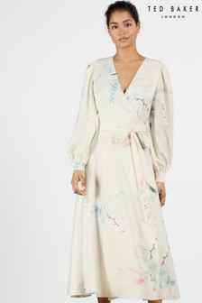 Ted Baker Flosssi Floral Wrap Long Sleeve Midi Dress