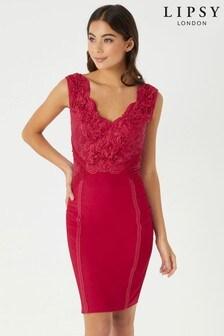 Облегающее платье с глубоким вырезом и аппликациями Lipsy
