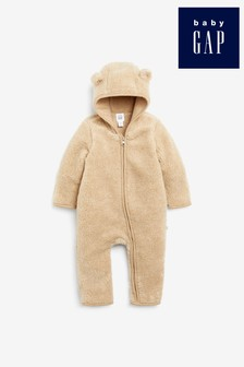 Gap Baby Bear Sherpa Fleece Sleepsuit With Ears