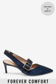 Leather Buckle Slingbacks