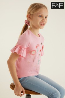 F&F Pink Flower T-Shirt With Scrunchie