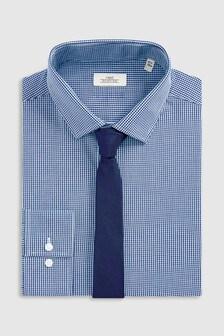 Ensemble chemise à carreaux vichy et cravate