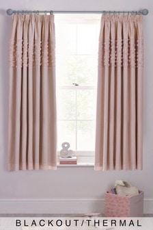 Rose Ruffle Panel Pencil Pleat Blackout Curtains