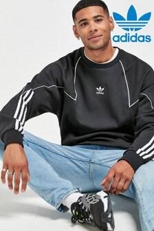 توب ياقة مستديرة Trefoil كبيرة سوداء من adidas Originals