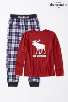 Set pijama cu logo Abercrombie & Fitch roșie
