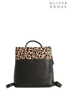 Черный фактурный кожаный рюкзак со звериным принтом Oliver Bonas