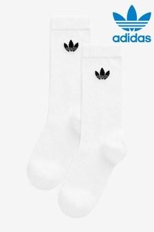 adidas Originals Adults白色薄中筒襪2雙裝