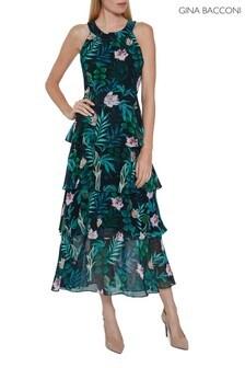 Gina Bacconi Blue Diadama Chiffon Tiered Maxi Dress