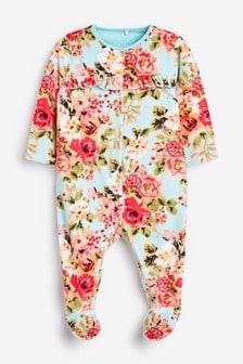 Велюровая пижама с цветочным рисунком (0 мес. - 2 лет)