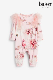 Baker by Ted Baker Pink Frill Sleeve Romper