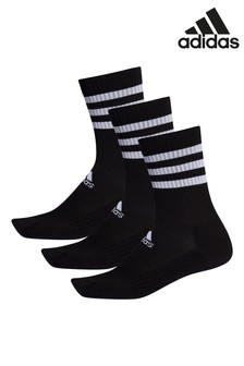 adidas Adult 黑色3條紋中筒襪三雙裝
