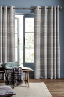 Marlow Woven Check Eyelet Curtains