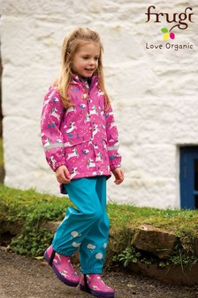 Frugi Blue Recycled Waterproof Puddlesuit Dungarees