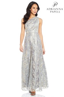 Adrianna Papell Grey One Shoulder Gown