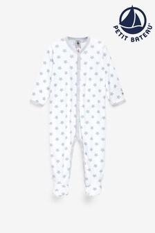 Petit Bateau Grey/White Star Sleepsuit