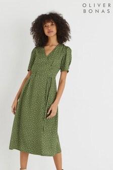 Oliver Bonas Green Polka Dot Midi Wrap Dress