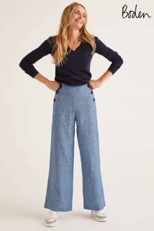 Boden Blue Falmouth Linen Trousers