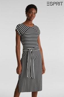 Esprit Tailliertes Streifenkleid mit Gürtel, schwarz