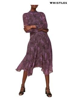 שמלה ורודה שלWhistles דגם Carlotta בהדפס מנוחש