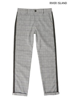 River Island Grey Light Taped Check Trousers