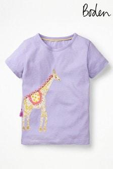 Fialové tričko Boden s veľkou zvieracou aplikáciou