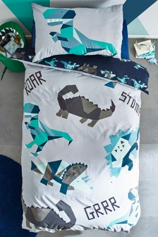 Geometric Dinosaur Duvet Cover and Pillowcase Set