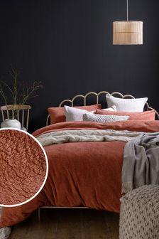 Rust Orange Teddy Fleece Duvet Cover and Pillowcase Set