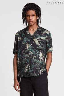 AllSaints Black Thicket Graphic Resort Shirt