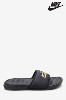Nike Black Textile Benassi Sliders