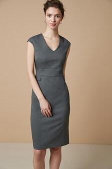 Tailored Short Sleeve V-Neck Dress