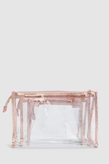 Set of 3 Clear Cosmetic Bags