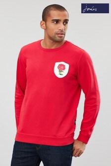 Bluză la baza gâtului Joules Dartmouth roșie cu emblemă