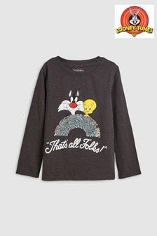 Looney Tunes langärmeliges, flippiges T-Shirt mit Pailletten (3-16yrs)