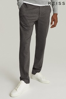 Reiss Grey Flexo Slim Fit Jersey Stretch Trousers