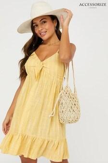 Accessorize Yellow Tie Front Stripe Short Dress
