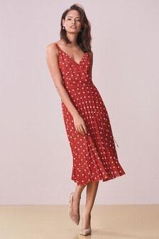 Плиссированное платье с запахом