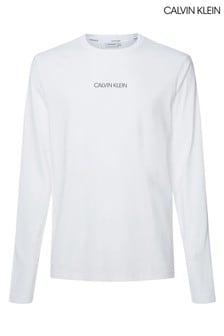 Camiseta blanca de manga larga con logotipo líquido de Calvin Klein